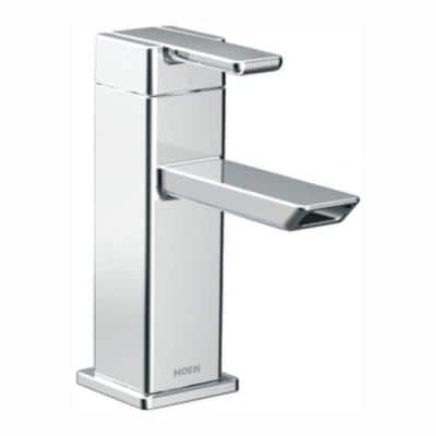 90° Single Hole Single-Handle Low-Arc Bathroom Faucet in Chrome