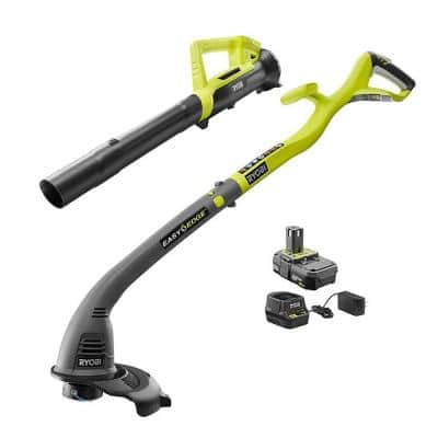ONE+ 18-Volt Lithium-Ion String Trimmer/Edger and Blower/Sweeper Combo Kit - 2.0 Ah Battery and Charger Included