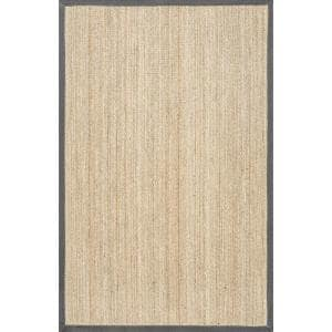 Elijah Seagrass with Border Dark Gray 3 ft. x 5 ft. Area Rug