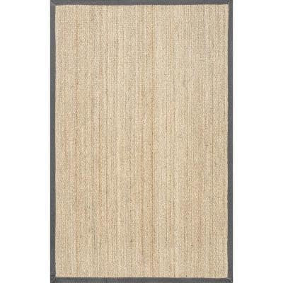 Elijah Seagrass with Border Dark Gray 4 ft. x 6 ft. Area Rug