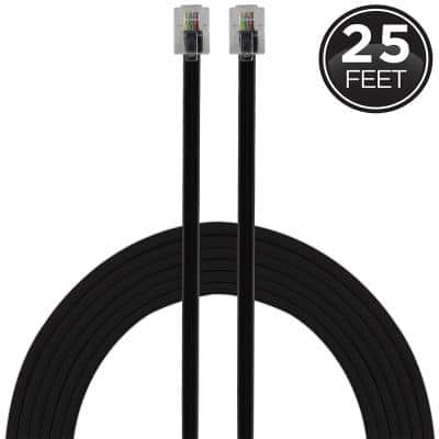 25 ft. Telephone Line Cord with Modular Plugs, Black