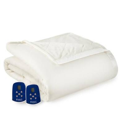 Reverse to Ultra Velvet Queen Vanilla Electric Comforter/Blanket