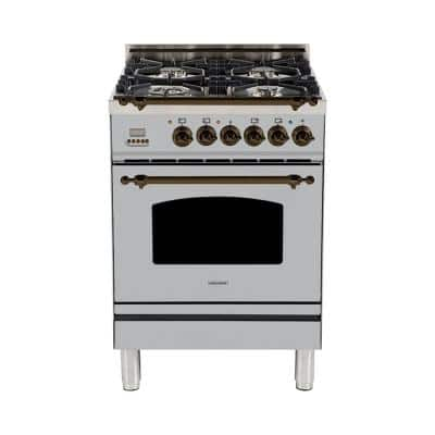 24 in. 2.4 cu. ft. Single Oven Dual Fuel Italian Range with True Convection, 4 Burners, Bronze Trim in Stainless Steel