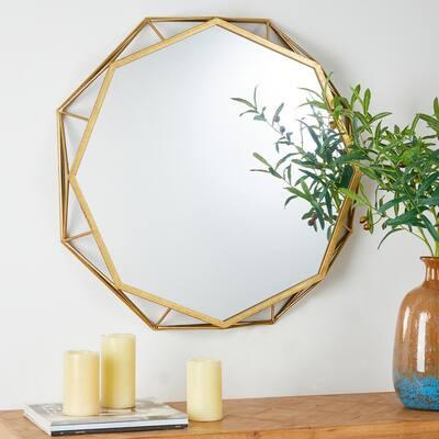 28.15 in. H x 28.15 in. W Modern Medium Irregular Framed Iron Gold Modern Glass Mirror