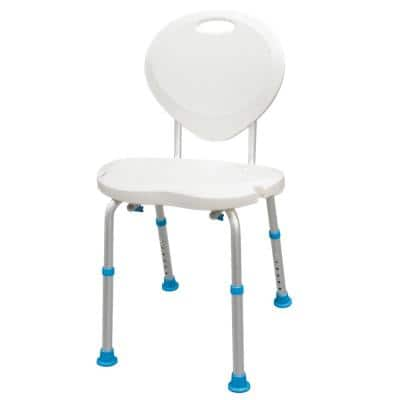 Adjustable Bath and Shower Chair with Non-Slip Comfort Seat and Backrest, White