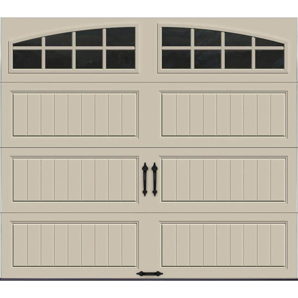 Clopay Gallery Collection 8 Ft X 7 Ft 6 5 R Value Insulated Desert Tan Garage Door With Arch Window Gr1lp Rt Grla1 The Home Depot