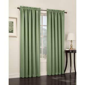 Sage Green Solid Rod Pocket Room Darkening Curtain - 54 in. W x 63 in. L