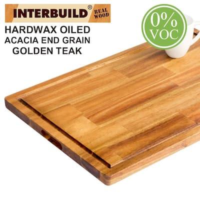 24 in.L x 16 in. D x 1 in. T Butcher Block Chopping Board in Golden Teak Stained Acacia