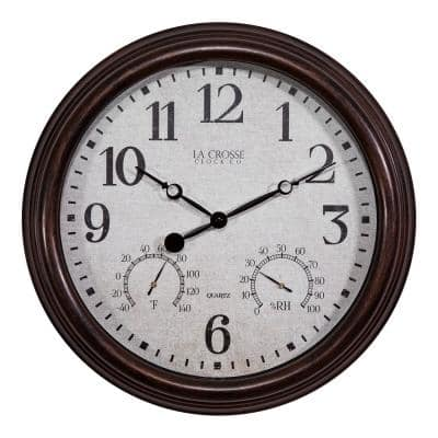 15 in. Brown Indoor/Outdoor Quartz Wall Clock with Thermometer and Hygrometer