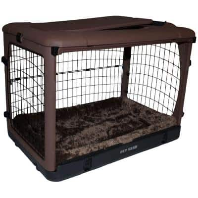 The Other Door 42 in. L x 28 in. W x 28 in. H Steel Crate with Pad in Chocolate