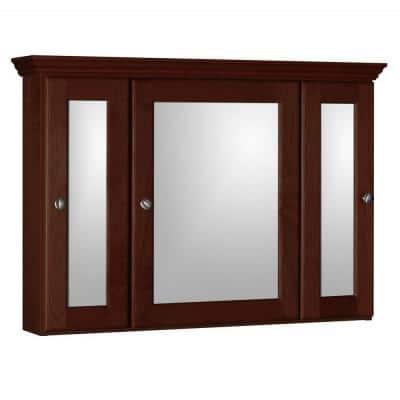 Ultraline 36 in. W x 27 in. H x 6-1/2 in. D Framed Tri-View Surface-Mount Bathroom Medicine Cabinet in Dark Alder