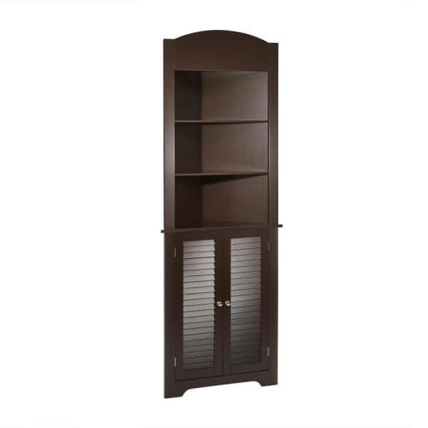 Riverridge Home Ellsworth 23 1 4 In W X 68 3 10 In H X 11 1 2 D Corner Bathroom Linen Storage Tower Cabinet In Espresso 06 028 The Home Depot