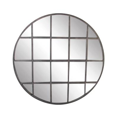 48 in. x 48 in. Round Silver Framed Metal Industrial Wall Mirror