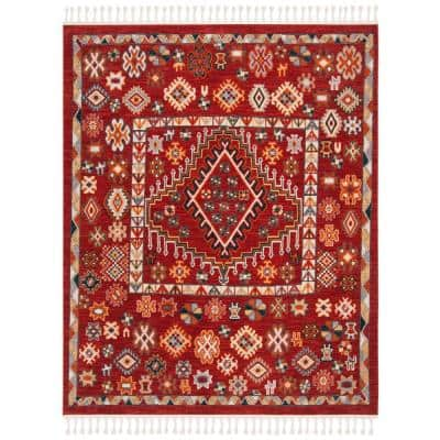 Farmhouse Red/Ivory 8 ft. x 10 ft. Floral Area Rug