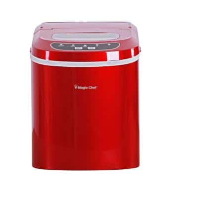 27 lbs. Portable Countertop Ice Maker in Red
