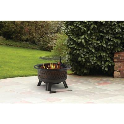 Piedmont 30 in. Steel Fire Pit in Black with Poker