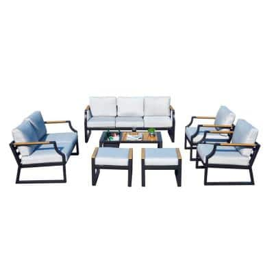 Jelly  7-Piece Luxury Garden Outdoor Patio Conversation Steel Frame Sofa Set with Gray Cushions and Ice Box Table
