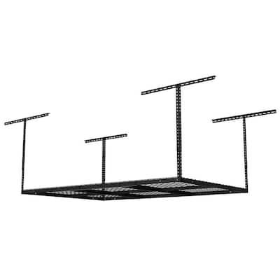 Black Adjustable Height Steel Overhead Garage Storage Rack (48 in W x 72 in D)