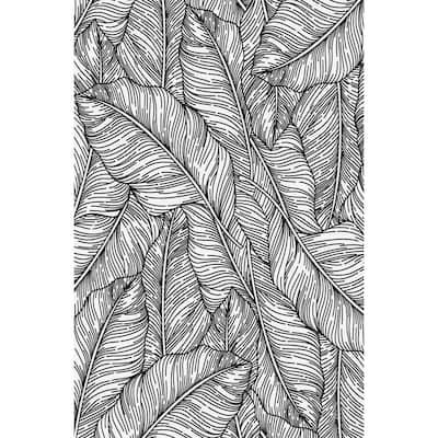 Decorative Black & White Laminated Kitchen Mat 39 in x 59 in