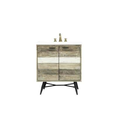 Kingrass 31 in. W x 22 in. D x 34 in. H Vanity in Solid Acacia Wood and Metal with Cultured Marble top and White sink