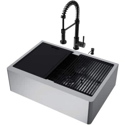 Oxford Stainless Steel 30 in Single Bowl Flat Farmhouse Apron-Front Workstation Kitchen Sink with Faucet and Accessories