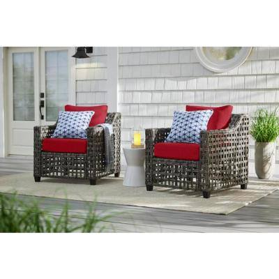 Briar Ridge Brown Wicker Outdoor Patio Deep Seating Lounge Chair with CushionGuard Chili Red Cushions (2-Pack)