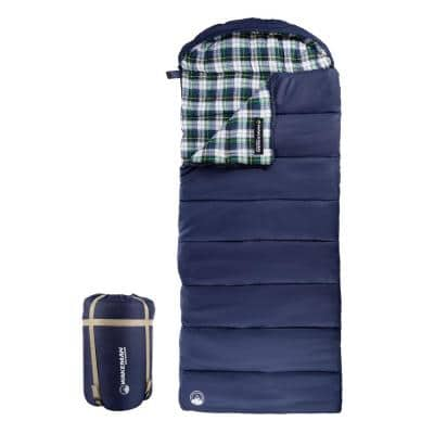 XL 3-Season Envelope Style Sleeping Bag with Carrying Bag and Compression Straps in Navy/White