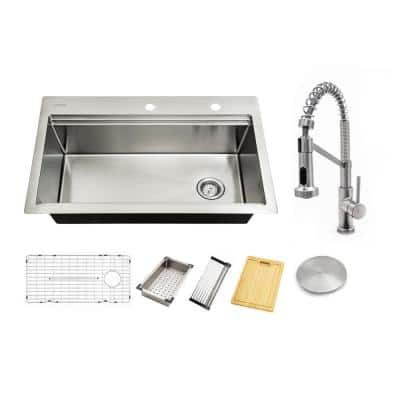 All-in-One 18-Gauge Stainless Steel 33 in. Single Bowl Dual Mount Workstation Double Ledge Kitchen Sink with Faucet