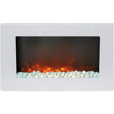 Fireside 30 in. Wall-Mount Electric Fireplace in White with Crystal Rock Display