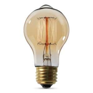 60-Watt AT19 Edison Dimmable Incandescent Amber Glass Vintage Light Bulb with Cage Filament Soft White