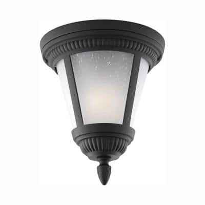 Westport Collection 1-Light Black Outdoor Flushmount