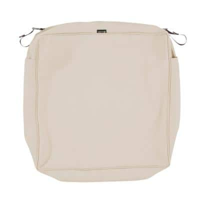 Montlake Fadesafe 25 in. W x 25 in. D x 5 in. H Square Patio Lounge Seat Cushion Slip Cover in Antique Beige