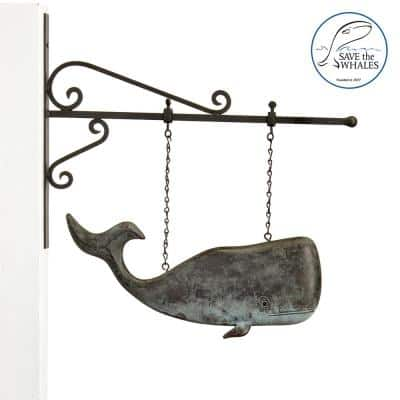 Pure Copper Hand Finished Patina Save The Whales Hanging Sculpture with Decorative Bracket