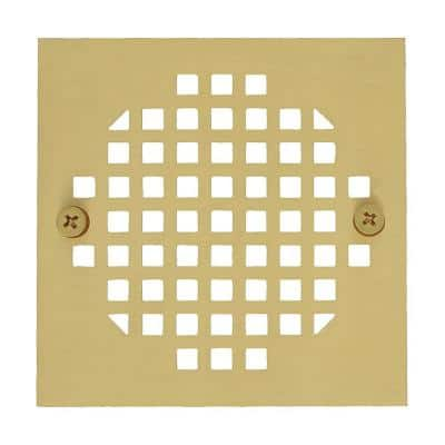 4-1/4 in. Square Cast Brass Heavy Duty Shower Strainer in Polished Brass