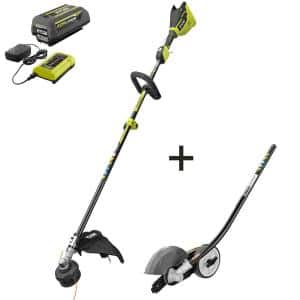 40V Brushless Cordless Battery Attachment Capable String Trimmer and Edger Attachment with 4.0 Ah Battery and Charger