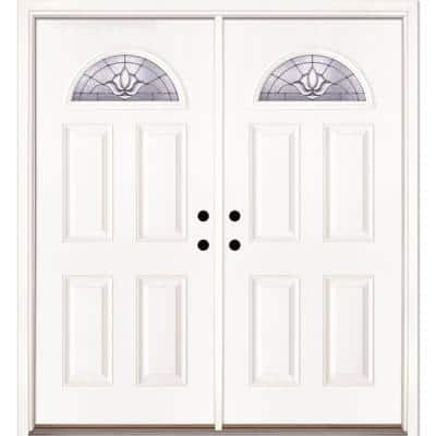74 in. x 81.625 in. Medina Zinc Fan Lite Unfinished Smooth Right-Hand Inswing Fiberglass Double Prehung Front Door