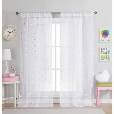 White Polka Dot Rod Pocket Room Darkening Curtain - 37 in. W x 96 in. L (Set of 2)