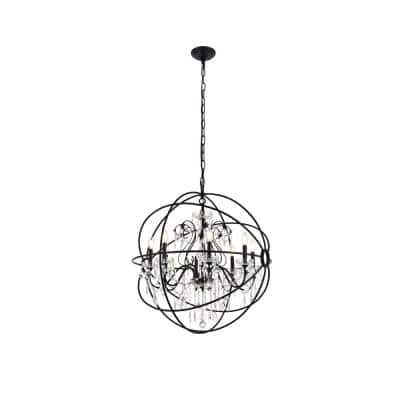 Timeless Home Cara 32 in. W x 34.5 in. H 8-Light Black Pendant