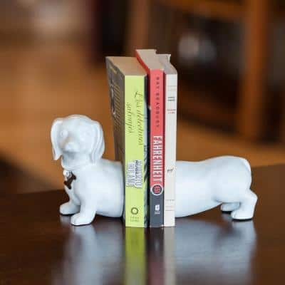 Dachshund Dog White Resin Bookends (Set of 2)