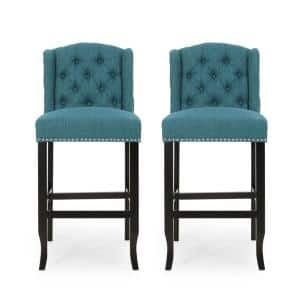 Foxwood 45.25 in. Teal Wingback Bar Stool (Set of 2)