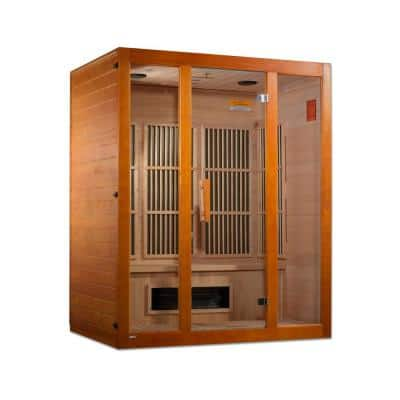 Alpine Lifesauna 3-Person Upgraded Infrared Sauna with 7 Dual Tech Multi Spectrum Infrared Heaters and Chromotherapy