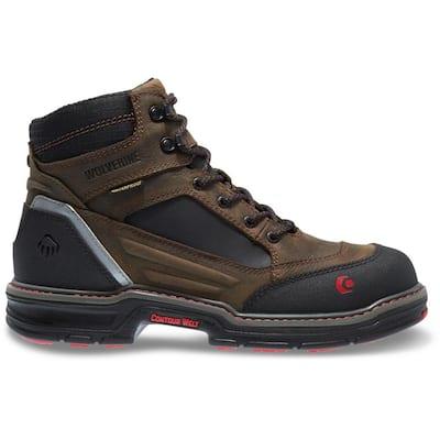 Men's Overman Waterproof 6 in. Work Boots - Composite Toe - Brown/Black Size 14(M)