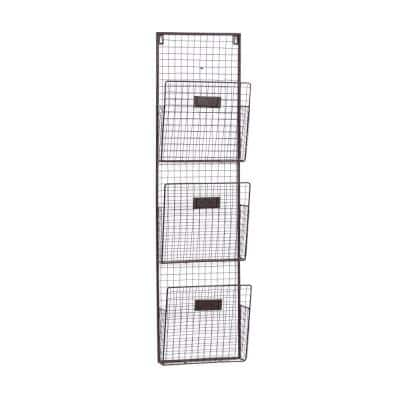 10 in. W x 38 in. H 3-Tiered Black Iron Wire Wall Mounted Organizer