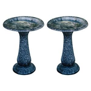 23.6 in. Tall Black with Speckled Gray Fiber Stone Birdbaths with Round Pedestal and Base (Set of 2)