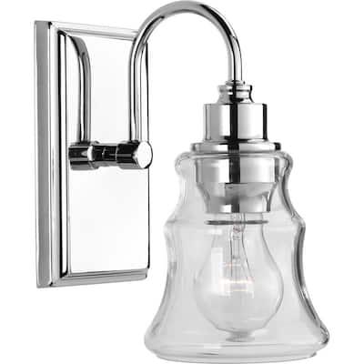 Litchfield Collection 1-Light Polished Chrome Clear Glass Coastal Bath Vanity Light
