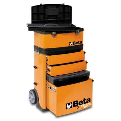 21 in. Mobile Tool Utility Cart with 3 Slide-Out Drawers and Removable Top Box with Carry Handle in Orange
