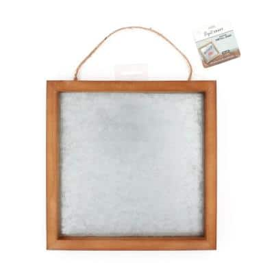 Project Craft Wood Framed Galvanized Metal Blank Sign for Decor and Artwork, 10 in. x 10 in.