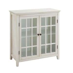 15.75 in. L x 36 in. W x 38 in. H White Wooden 2-Door Cabinet with Four Storage Compartments