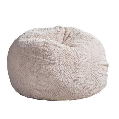 3 ft. Beige Shag Fur Double-Stitched Bean Bag