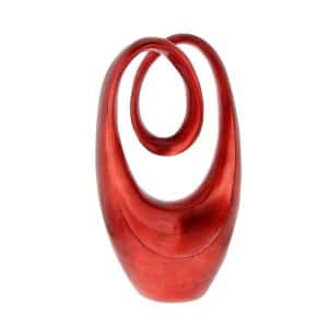 20 in. x 11 in. Decorative Abstract Sculpture in Red Polystone